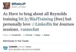 #ASNEchat tweet from @RobinJP